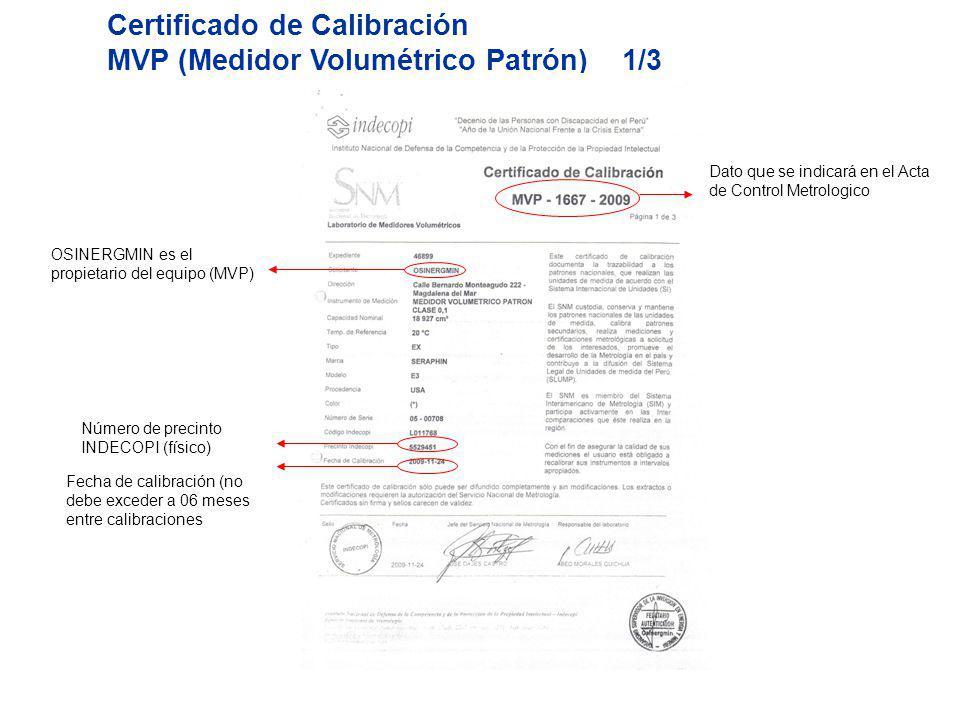 Certificado de Calibración MVP (Medidor Volumétrico Patrón) 1/3