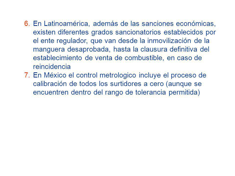 En Latinoamérica, además de las sanciones económicas, existen diferentes grados sancionatorios establecidos por el ente regulador, que van desde la inmovilización de la manguera desaprobada, hasta la clausura definitiva del establecimiento de venta de combustible, en caso de reincidencia