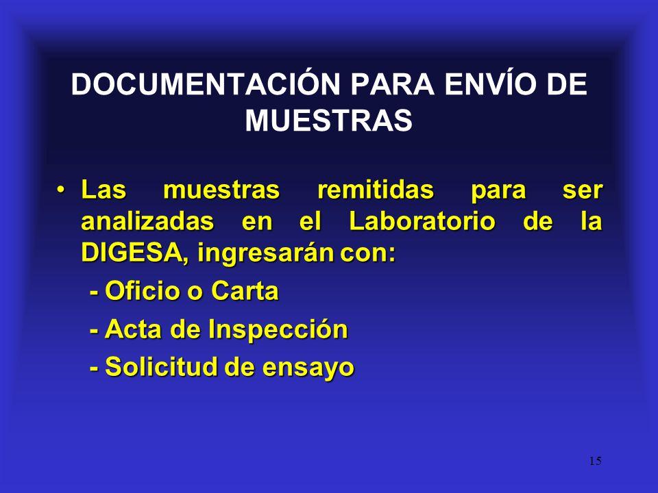 DOCUMENTACIÓN PARA ENVÍO DE MUESTRAS
