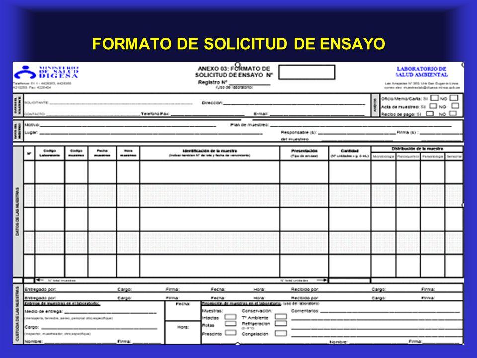 FORMATO DE SOLICITUD DE ENSAYO
