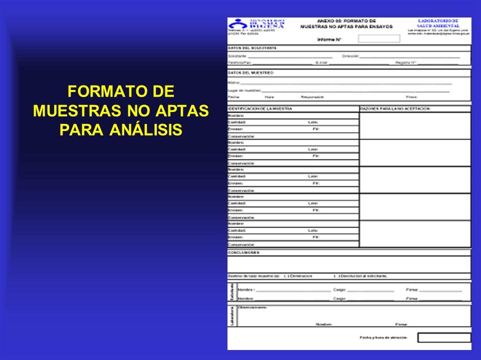 FORMATO DE MUESTRAS NO APTAS PARA ANÁLISIS