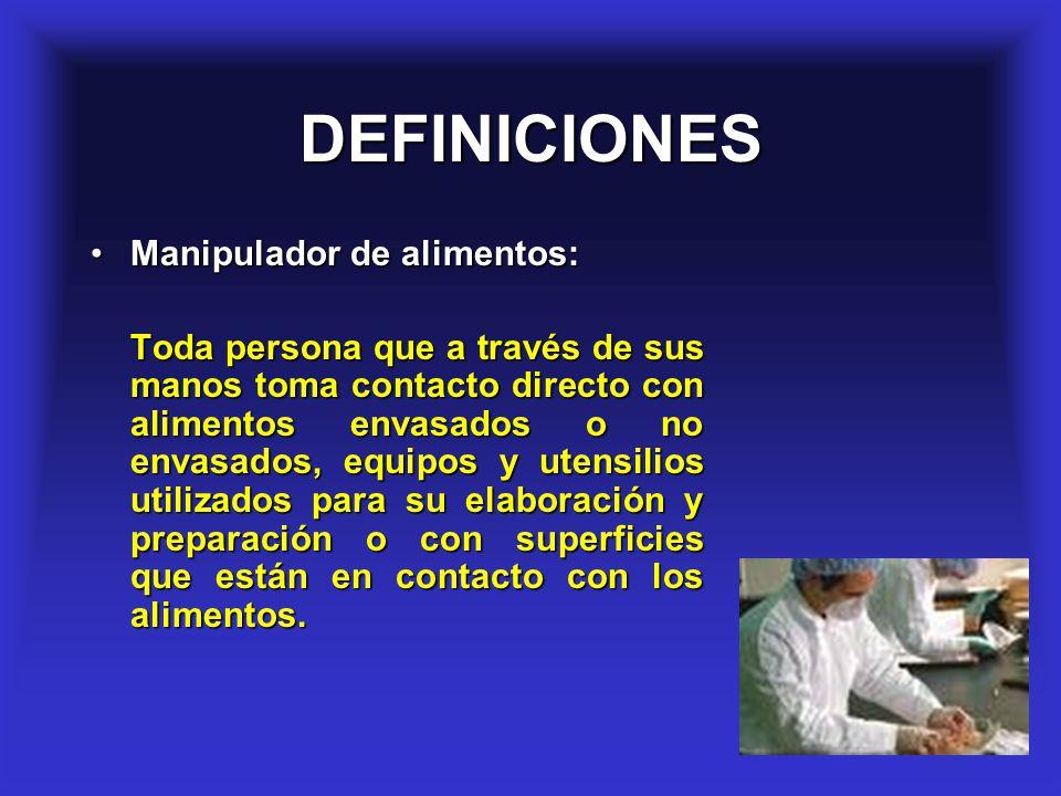 DEFINICIONES Manipulador de alimentos: