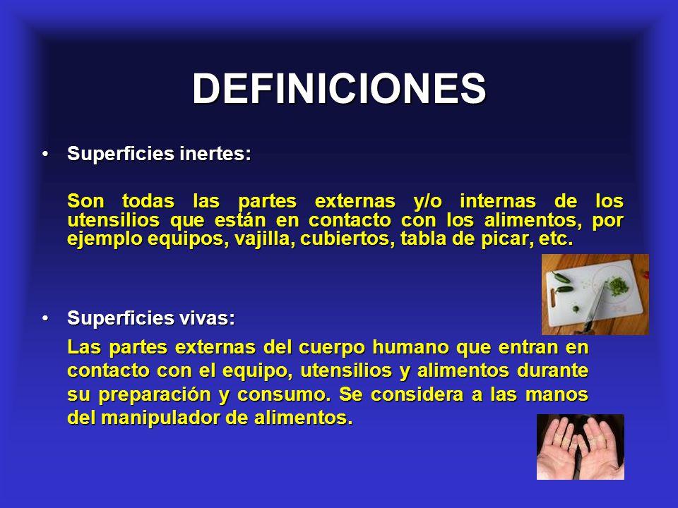 DEFINICIONES Superficies inertes: