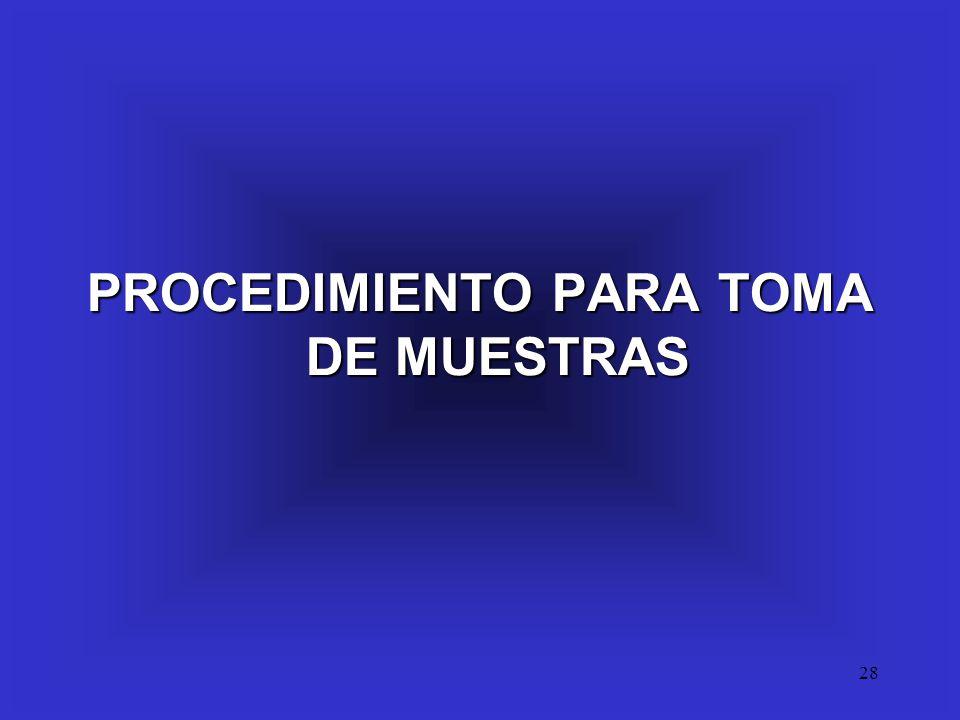 PROCEDIMIENTO PARA TOMA DE MUESTRAS