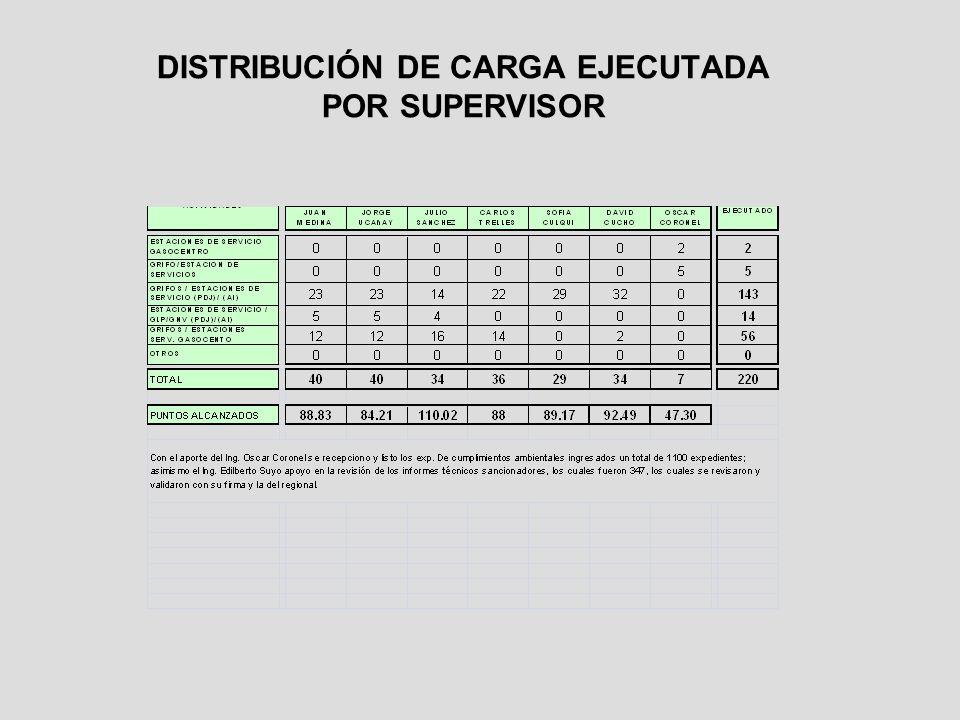 DISTRIBUCIÓN DE CARGA EJECUTADA POR SUPERVISOR