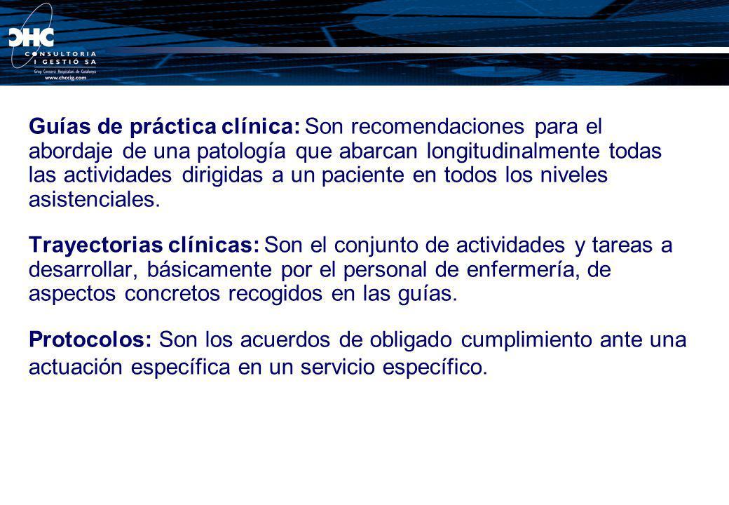 Guías de práctica clínica: Son recomendaciones para el abordaje de una patología que abarcan longitudinalmente todas las actividades dirigidas a un paciente en todos los niveles asistenciales.