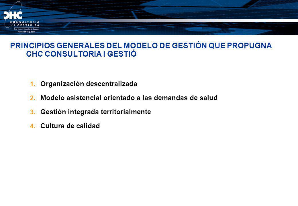 PRINCIPIOS GENERALES DEL MODELO DE GESTIÓN QUE PROPUGNA CHC CONSULTORIA I GESTIÓ