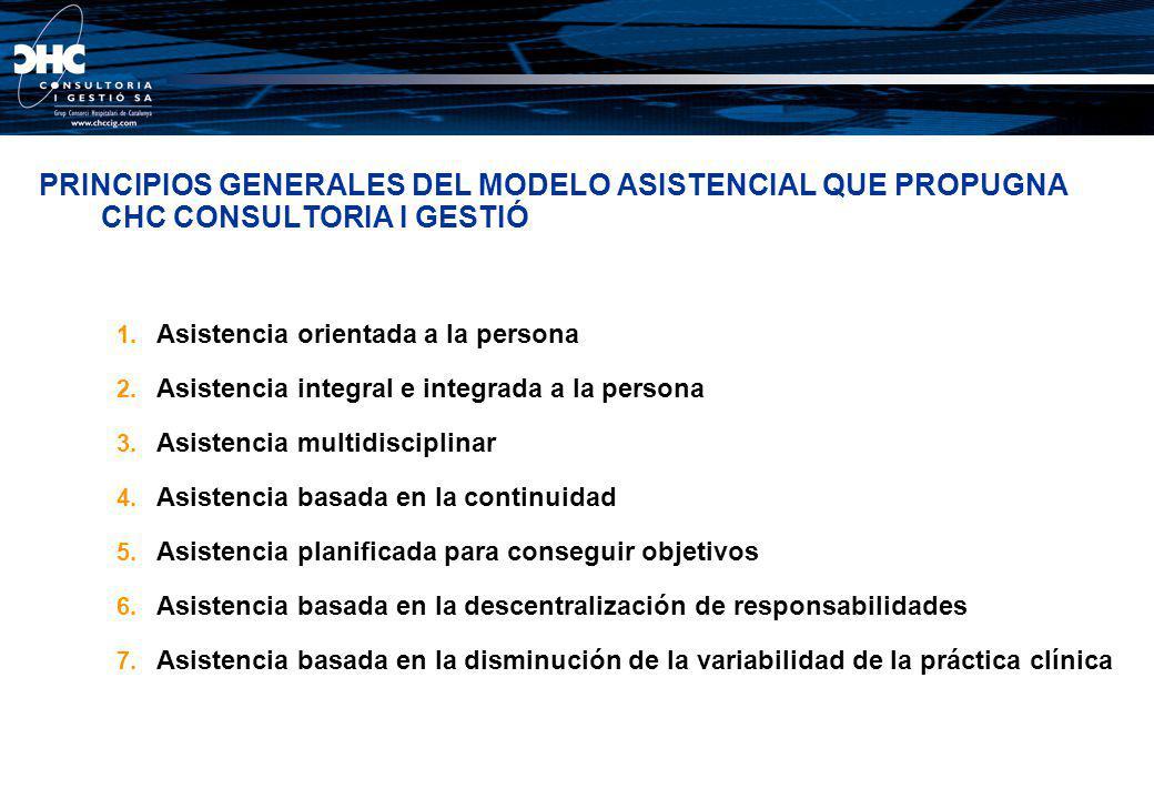 PRINCIPIOS GENERALES DEL MODELO ASISTENCIAL QUE PROPUGNA CHC CONSULTORIA I GESTIÓ