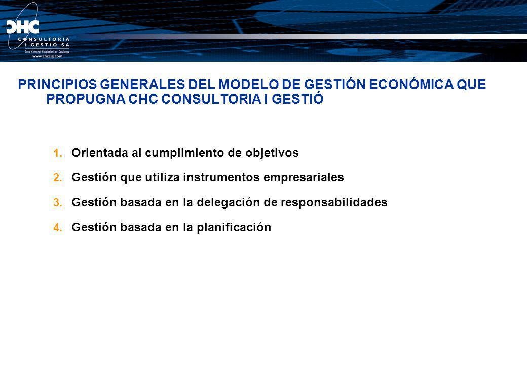 PRINCIPIOS GENERALES DEL MODELO DE GESTIÓN ECONÓMICA QUE PROPUGNA CHC CONSULTORIA I GESTIÓ