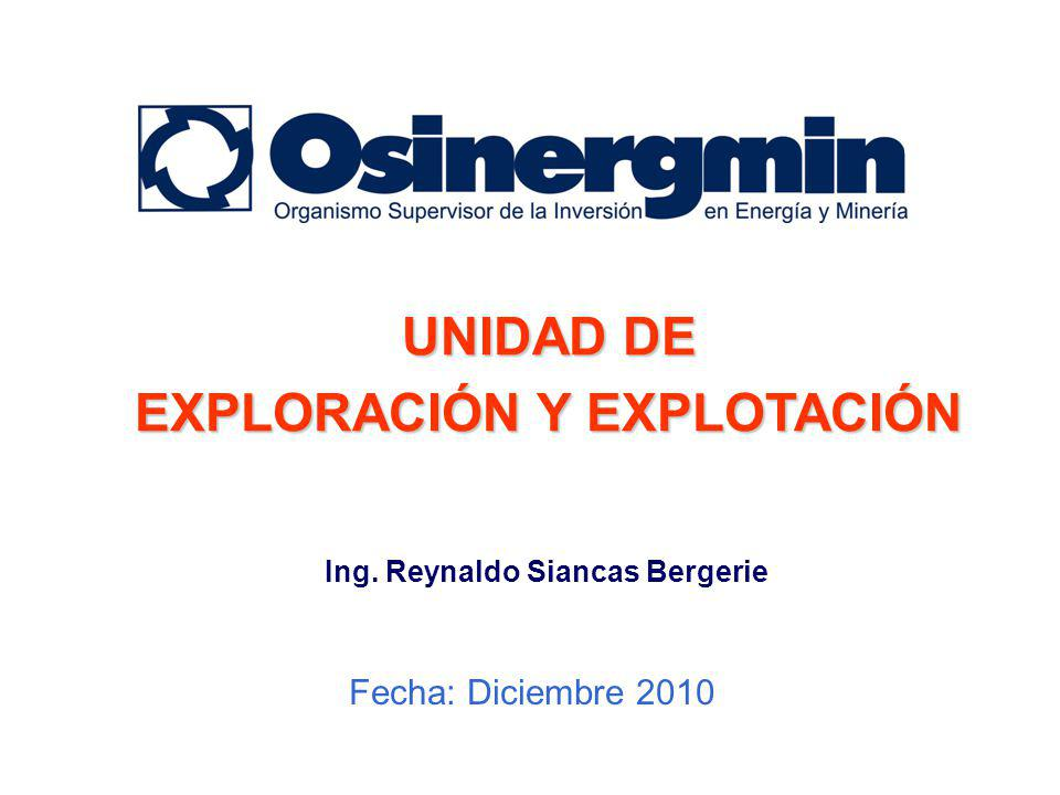 EXPLORACIÓN Y EXPLOTACIÓN Ing. Reynaldo Siancas Bergerie