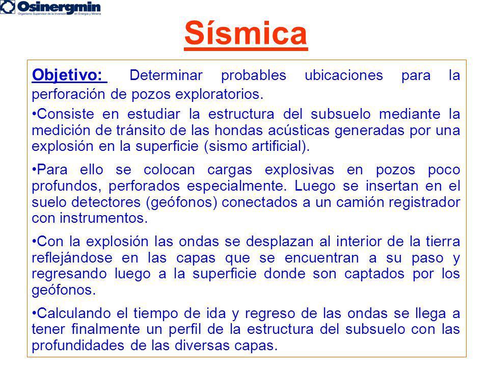 Sísmica Objetivo: Determinar probables ubicaciones para la perforación de pozos exploratorios.