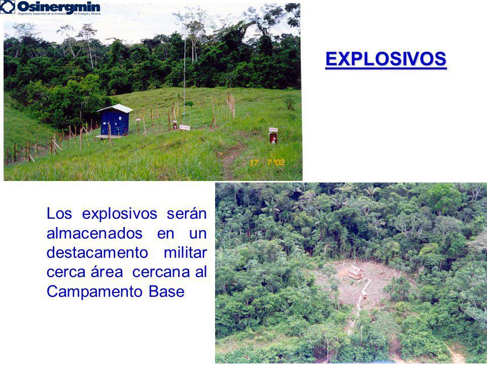 EXPLOSIVOS Los explosivos serán almacenados en un destacamento militar cerca área cercana al Campamento Base.