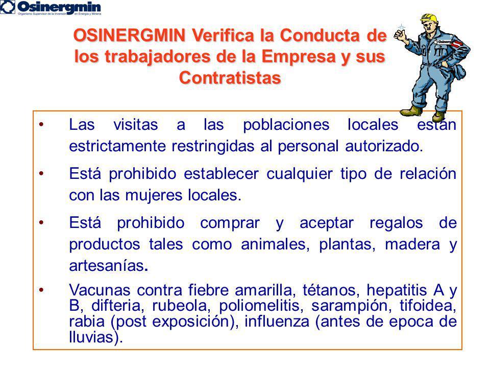 OSINERGMIN Verifica la Conducta de los trabajadores de la Empresa y sus Contratistas