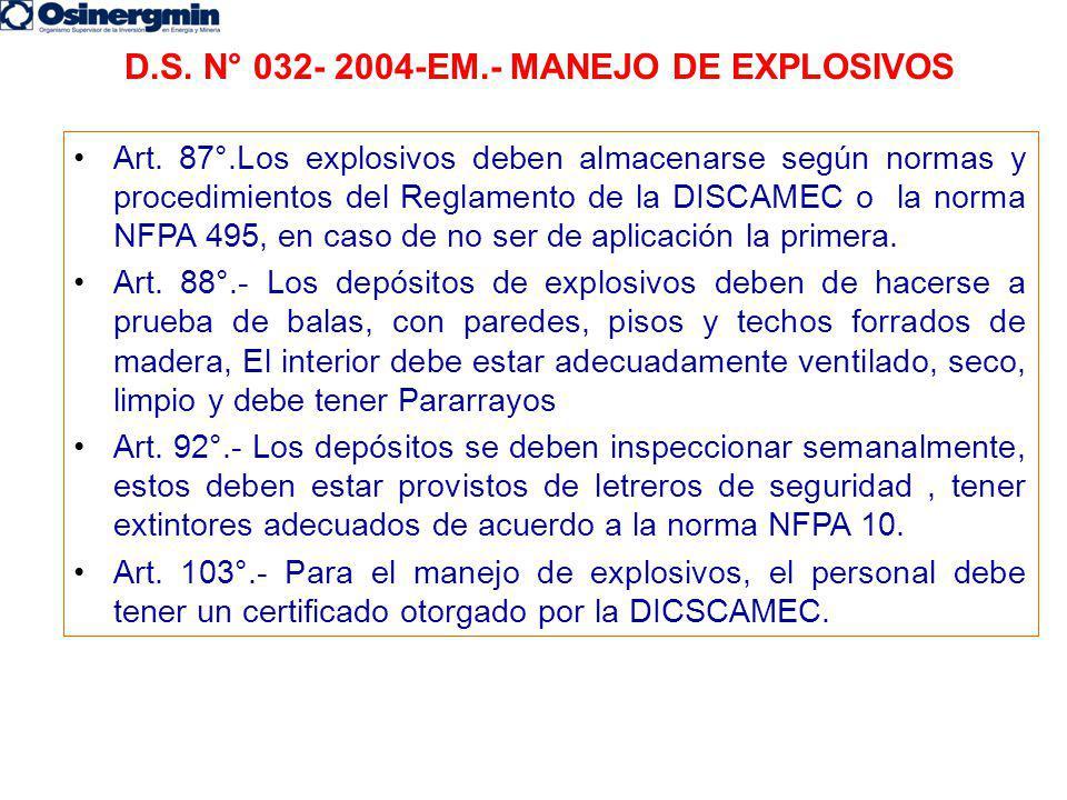 D.S. N° 032- 2004-EM.- MANEJO DE EXPLOSIVOS