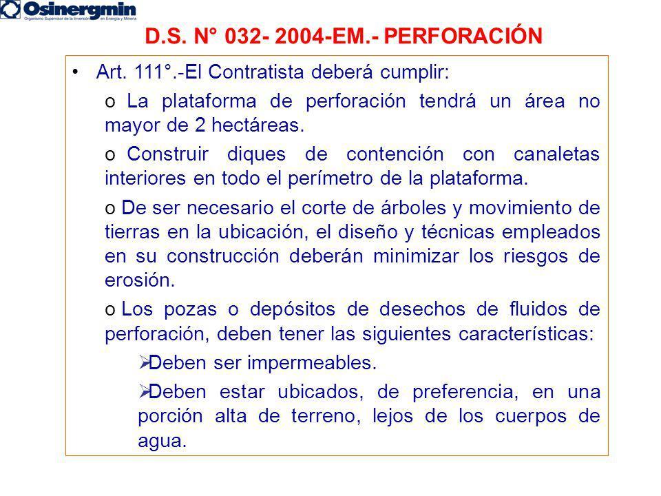 D.S. N° 032- 2004-EM.- PERFORACIÓN