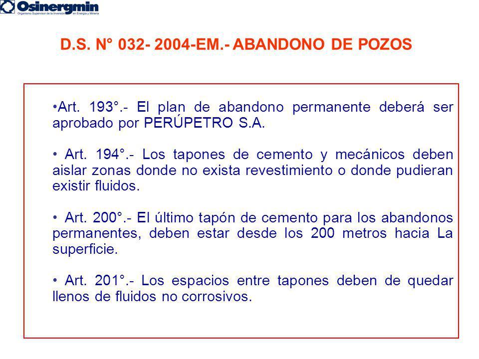 D.S. N° 032- 2004-EM.- ABANDONO DE POZOS