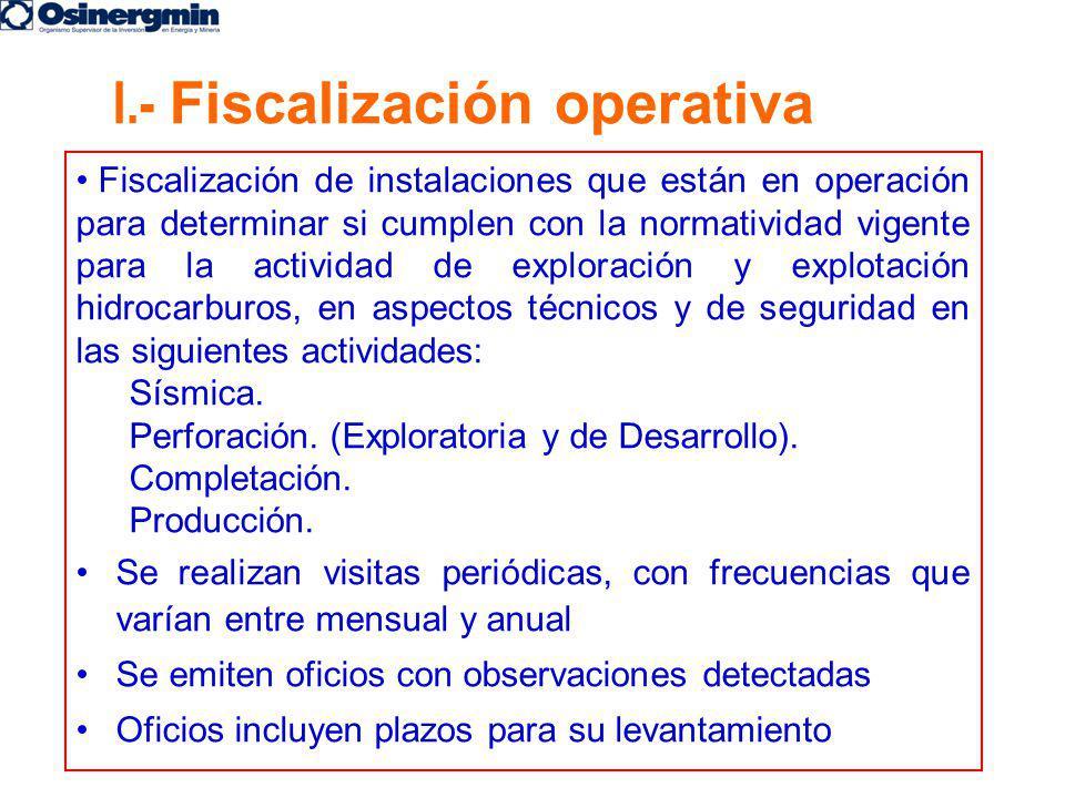 I.- Fiscalización operativa