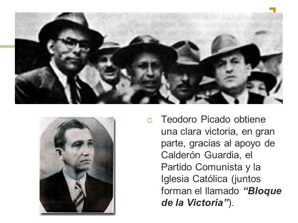 Teodoro Picado obtiene una clara victoria, en gran parte, gracias al apoyo de Calderón Guardia, el Partido Comunista y la Iglesia Católica (juntos forman el llamado Bloque de la Victoria ).