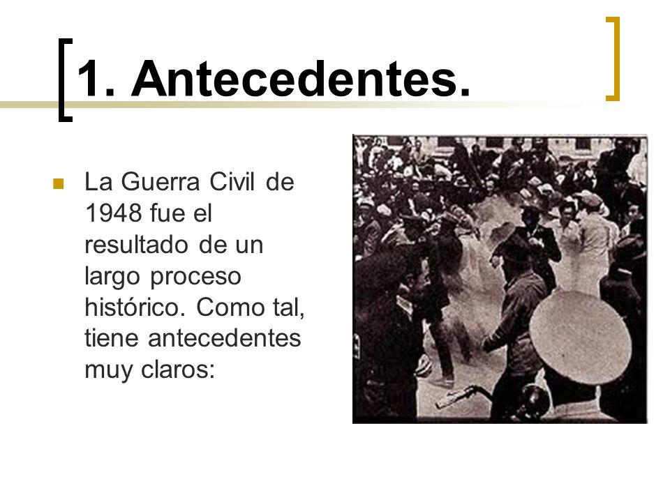 1. Antecedentes. La Guerra Civil de 1948 fue el resultado de un largo proceso histórico.