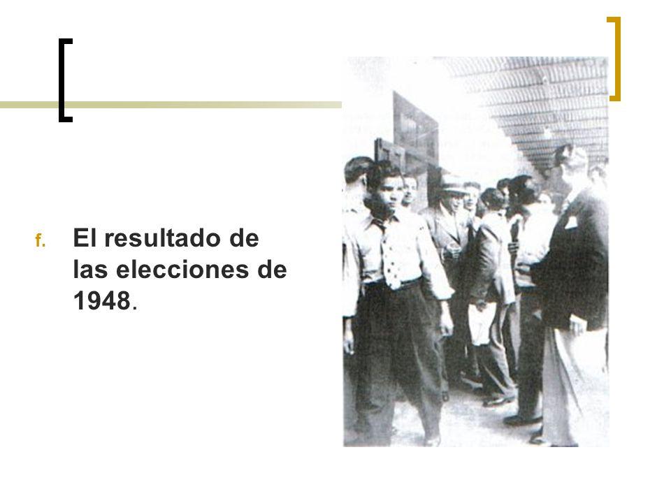 El resultado de las elecciones de 1948.