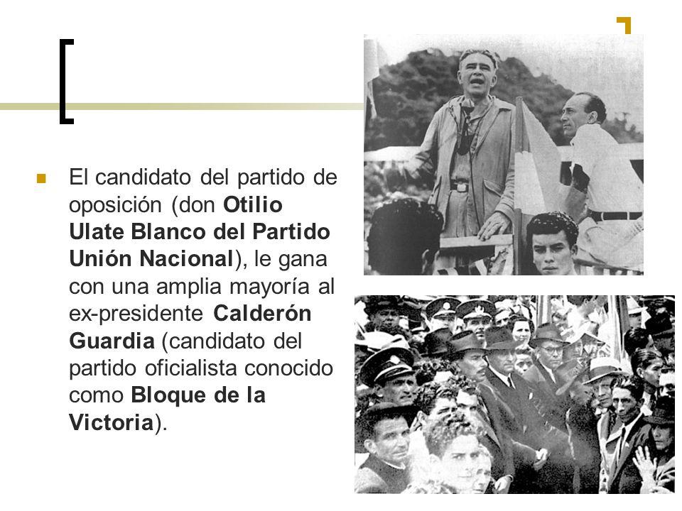 El candidato del partido de oposición (don Otilio Ulate Blanco del Partido Unión Nacional), le gana con una amplia mayoría al ex-presidente Calderón Guardia (candidato del partido oficialista conocido como Bloque de la Victoria).