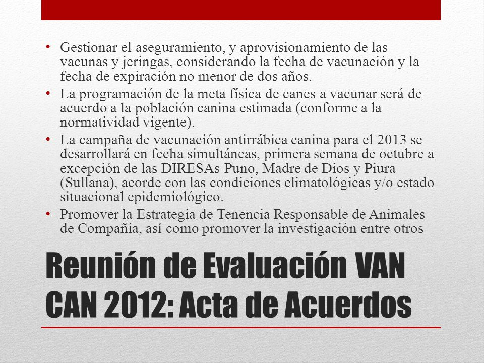 Reunión de Evaluación VAN CAN 2012: Acta de Acuerdos