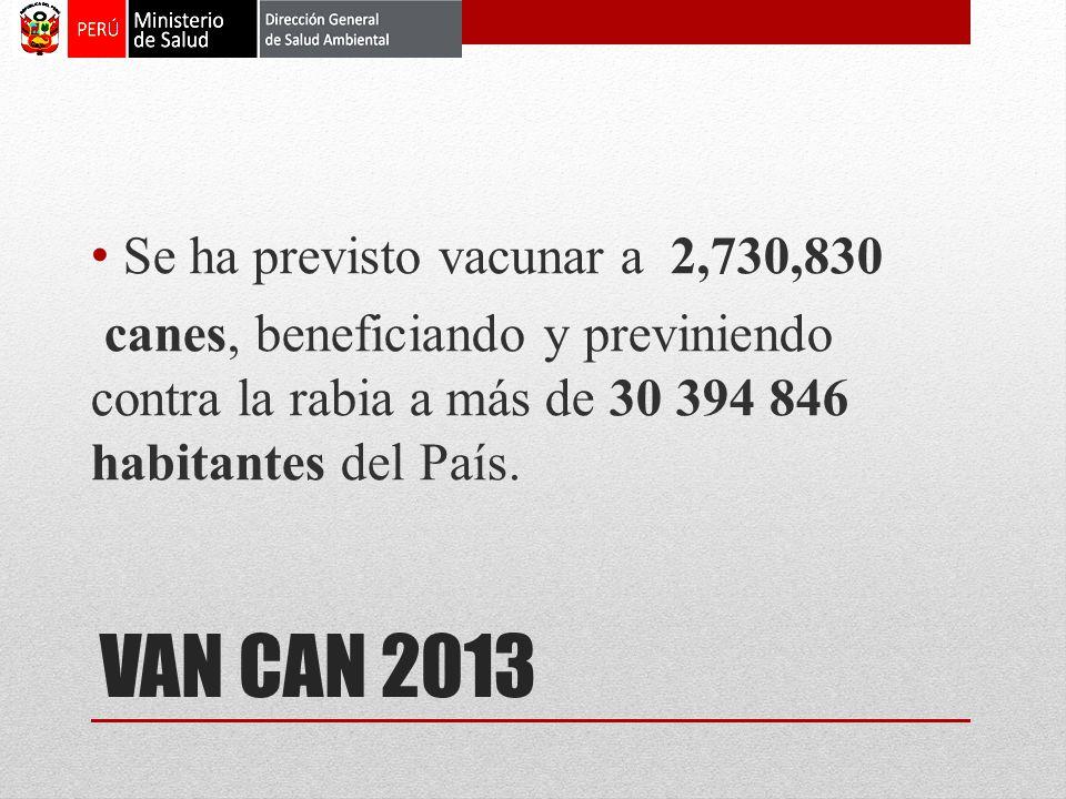 VAN CAN 2013 Se ha previsto vacunar a 2,730,830