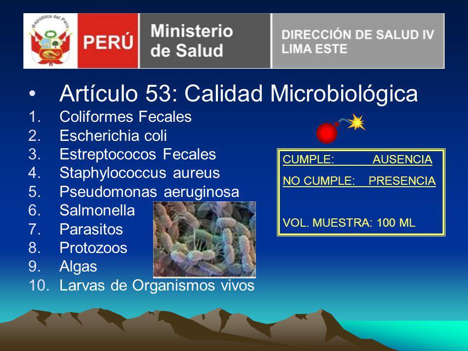 Artículo 53: Calidad Microbiológica