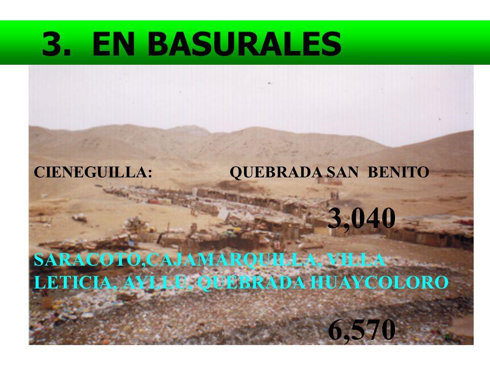 3. EN BASURALES CIENEGUILLA: QUEBRADA SAN BENITO. 3,040. SARACOTO,CAJAMARQUILLA, VILLA LETICIA, AYLLU, QUEBRADA HUAYCOLORO.