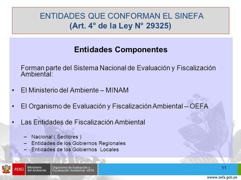 ENTIDADES QUE CONFORMAN EL SINEFA (Art. 4° de la Ley N° 29325)