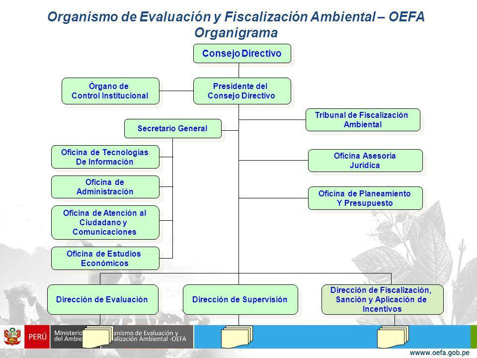 Organismo de Evaluación y Fiscalización Ambiental – OEFA Organigrama