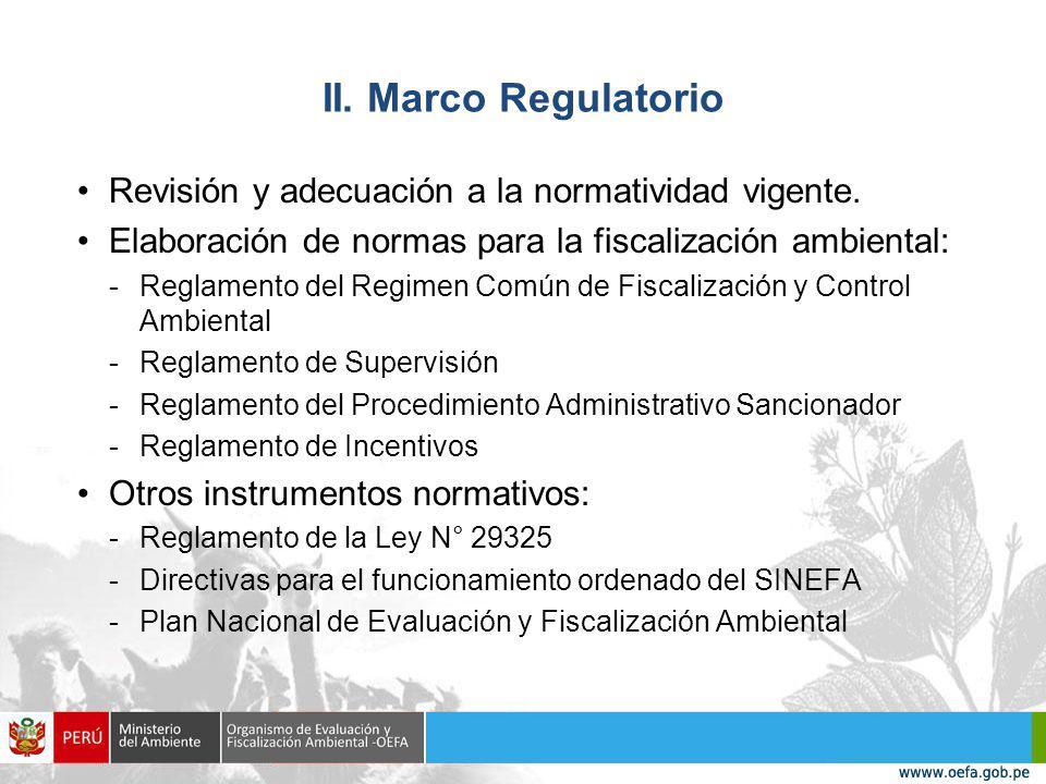 II. Marco Regulatorio Revisión y adecuación a la normatividad vigente.