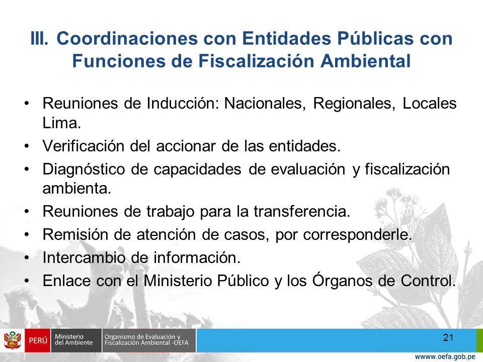 III. Coordinaciones con Entidades Públicas con Funciones de Fiscalización Ambiental