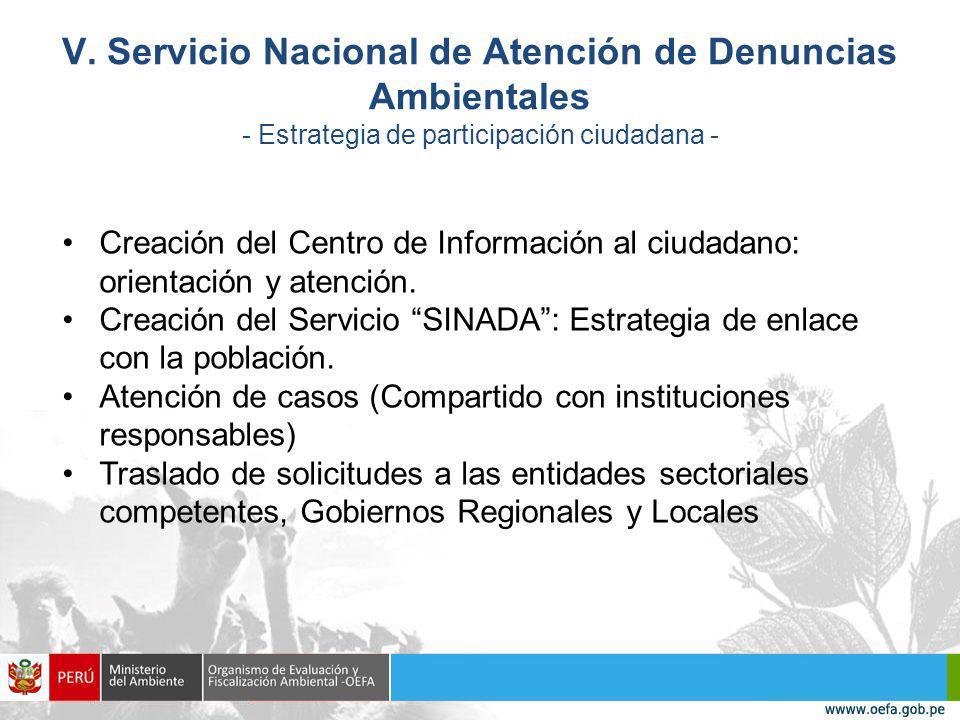 V. Servicio Nacional de Atención de Denuncias Ambientales - Estrategia de participación ciudadana -