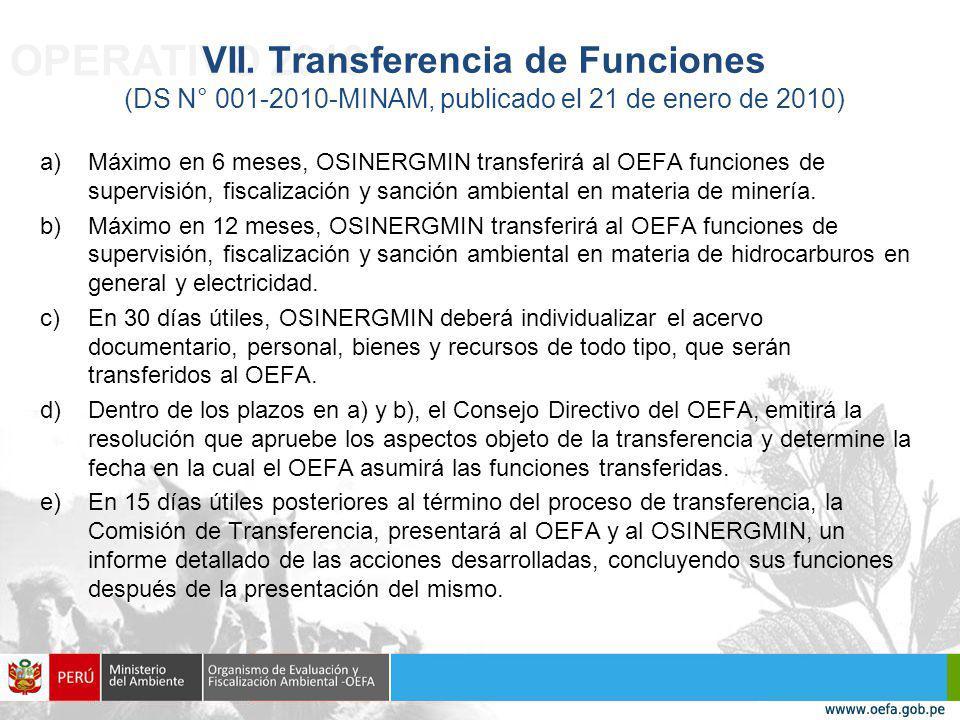 OPERATIVO 2010 VII. Transferencia de Funciones (DS N° 001-2010-MINAM, publicado el 21 de enero de 2010)