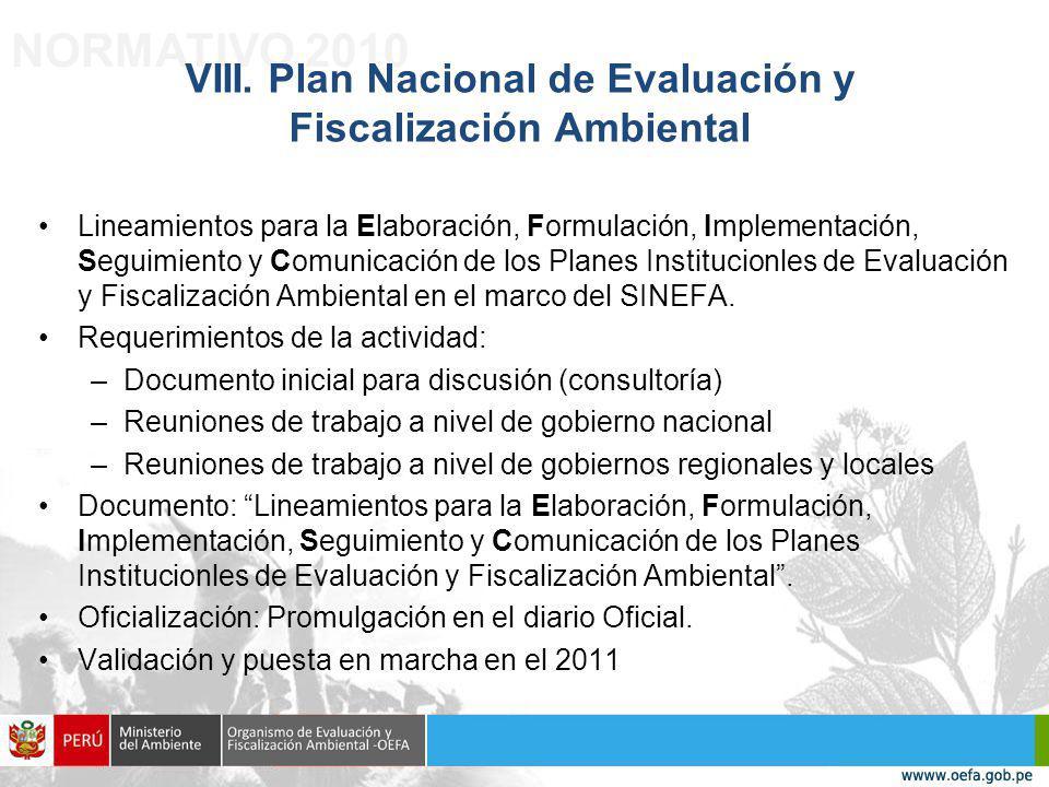 VIII. Plan Nacional de Evaluación y Fiscalización Ambiental