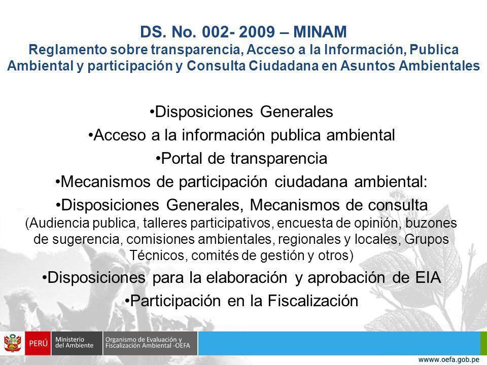 Disposiciones Generales Acceso a la información publica ambiental