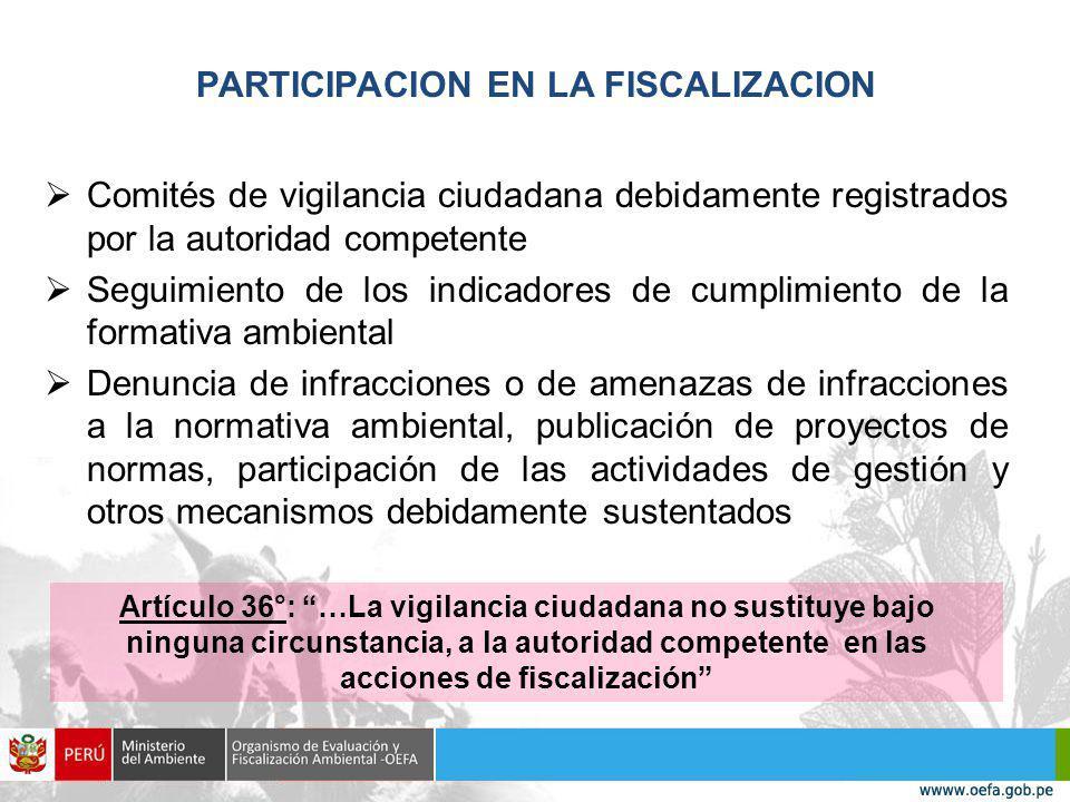 PARTICIPACION EN LA FISCALIZACION