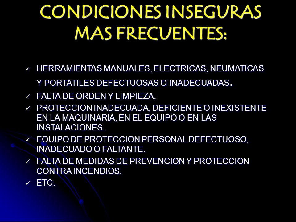 CONDICIONES INSEGURAS MAS FRECUENTES: