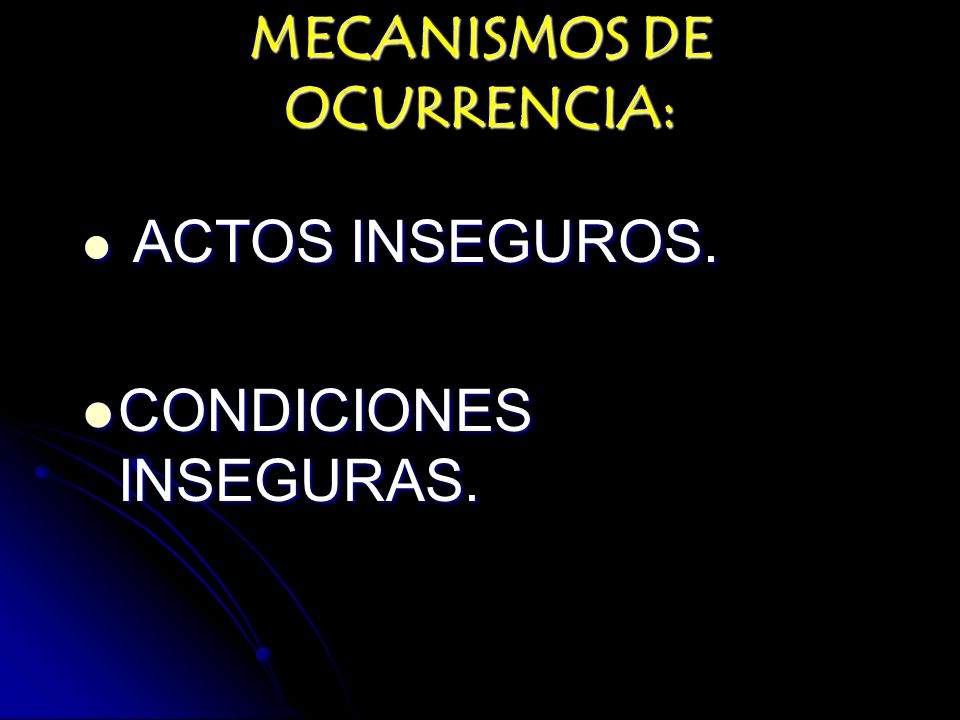 MECANISMOS DE OCURRENCIA: