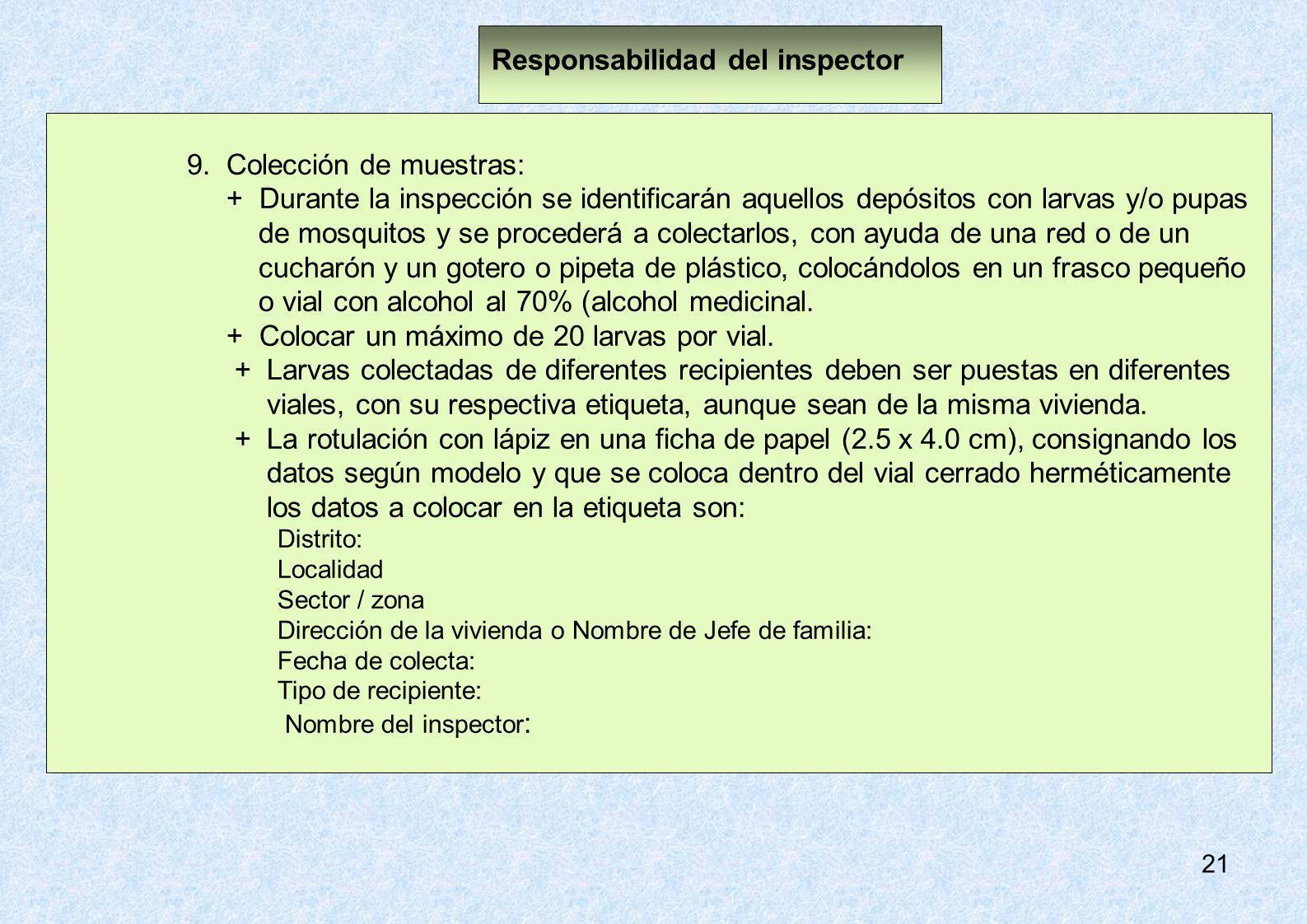 Responsabilidad del inspector