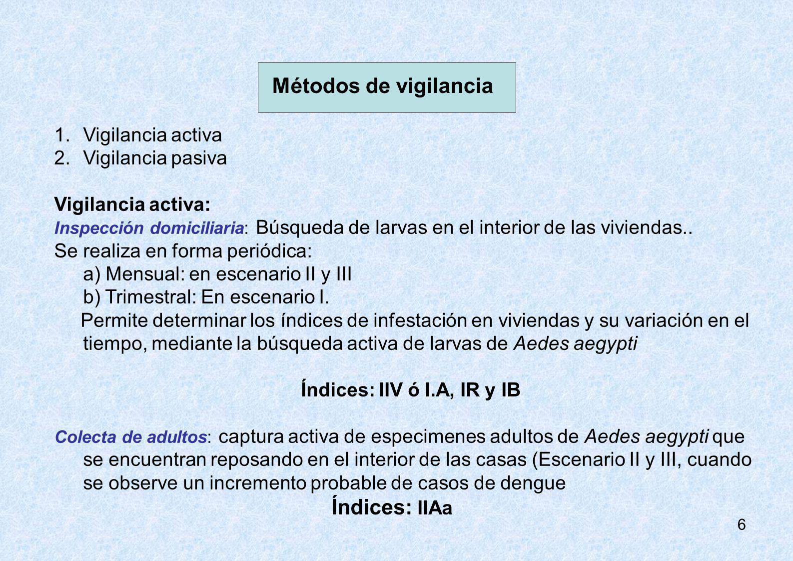 Métodos de vigilancia Vigilancia activa Vigilancia pasiva
