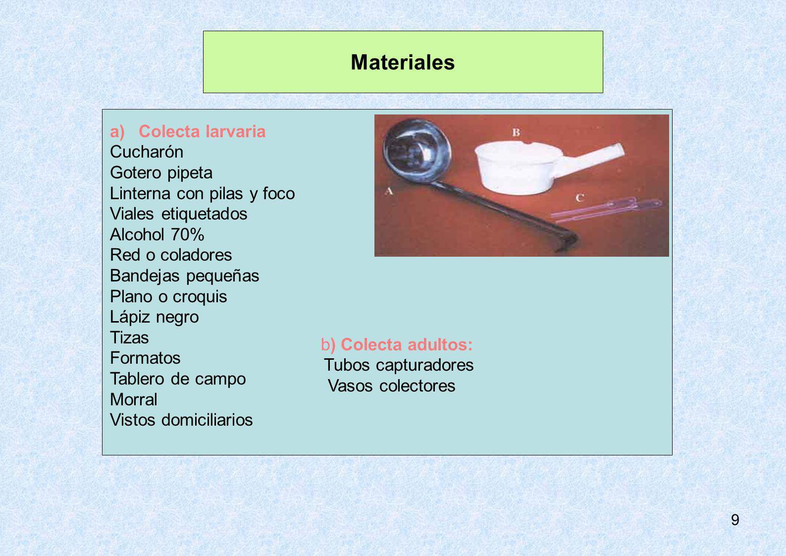 Materiales b) Colecta adultos: Tubos capturadores Vasos colectores