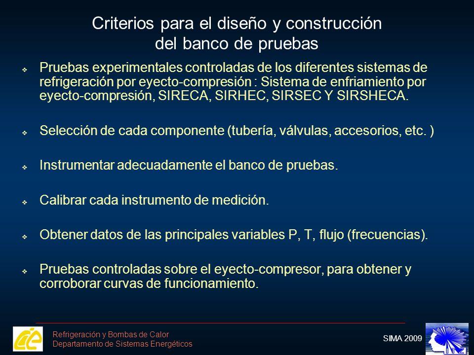 Criterios para el diseño y construcción del banco de pruebas