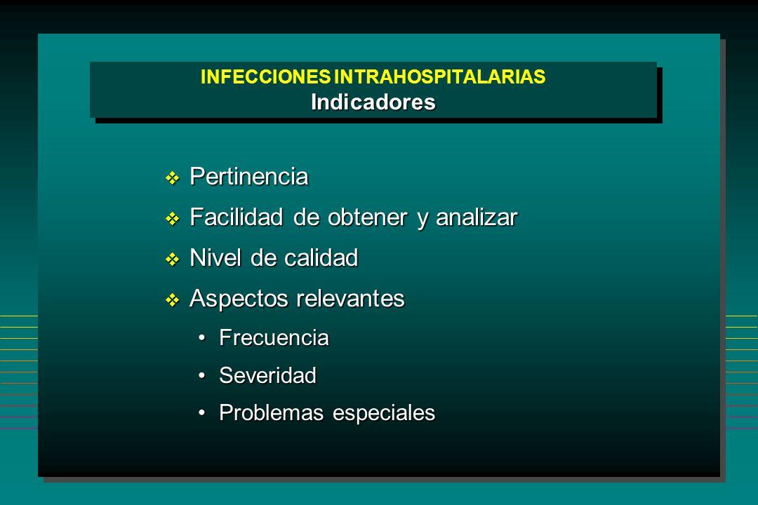 INFECCIONES INTRAHOSPITALARIAS Indicadores