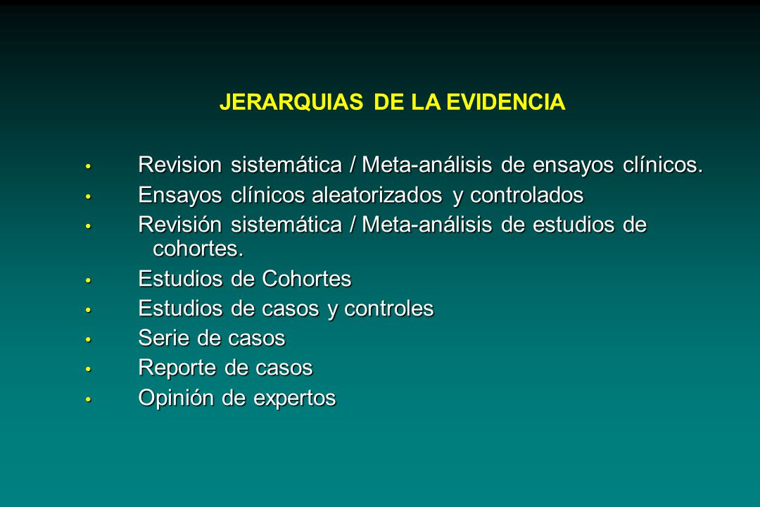 JERARQUIAS DE LA EVIDENCIA