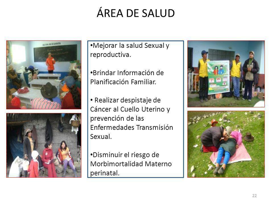 ÁREA DE SALUD Mejorar la salud Sexual y reproductiva.