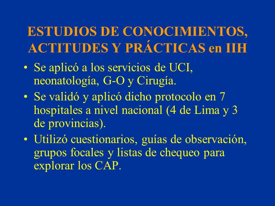 ESTUDIOS DE CONOCIMIENTOS, ACTITUDES Y PRÁCTICAS en IIH