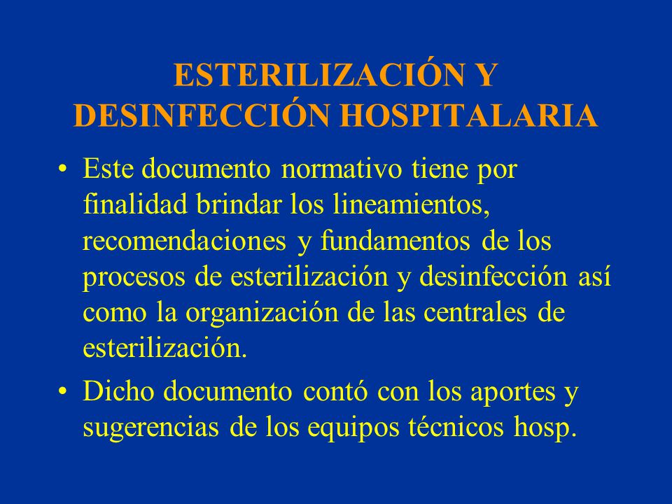 ESTERILIZACIÓN Y DESINFECCIÓN HOSPITALARIA