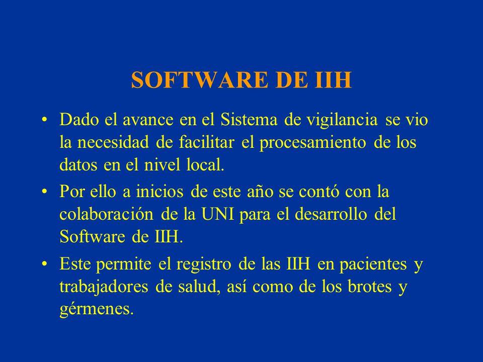 SOFTWARE DE IIH Dado el avance en el Sistema de vigilancia se vio la necesidad de facilitar el procesamiento de los datos en el nivel local.